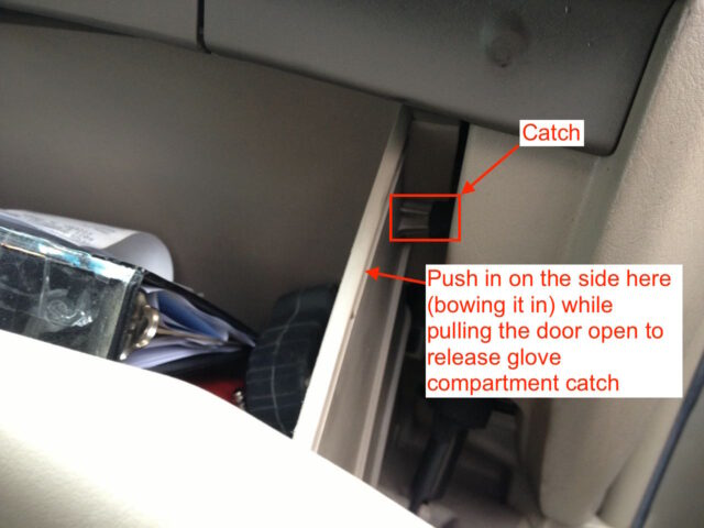 Diagram of how to release the glove compartment catches
