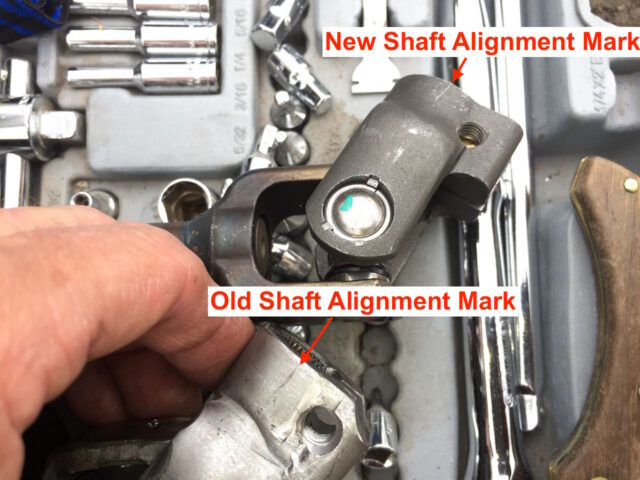 Diagram showing the alignment mark transferred from the old to new shaft