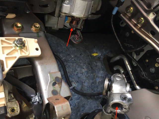 The upper end of the sienna intermediate steering shaft removed