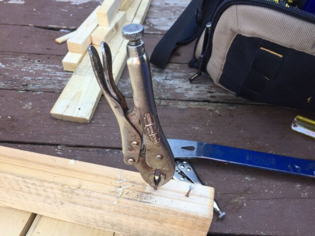 Using a vice grip if the nail head pulls off